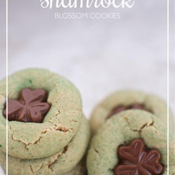 Peanut Butter Shamrock Blossom Cookies