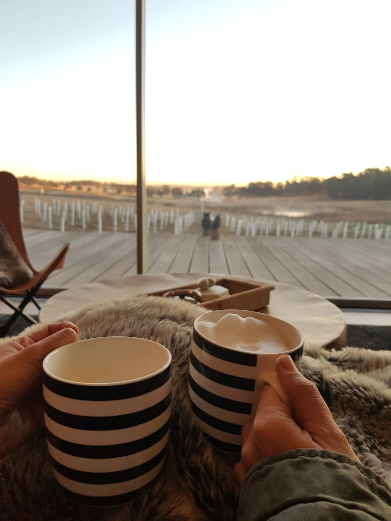 Striped mugs with coffee and frothed milk, with a view of the vineyards
