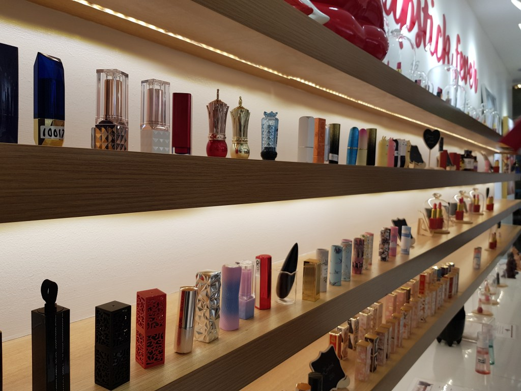 Lipstick cases on display