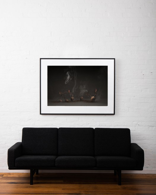 Large Still Life photo of food in brown background framed in black timber on white wall above sofa