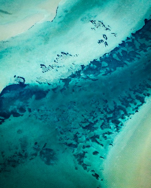 A Square Abstract, Aerial photo of Australia landscape in green and blue