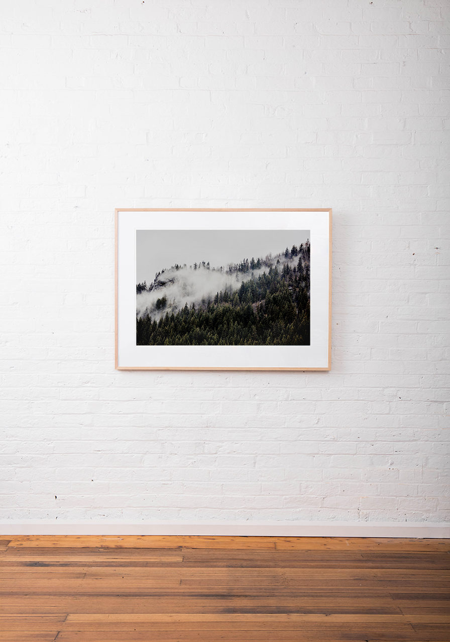 A photographic print of mist and fog over Mountains and trees in Canada framed in raw timber on white wall