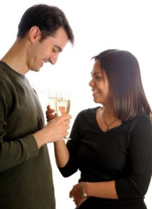 Young couple, toasting with champagne