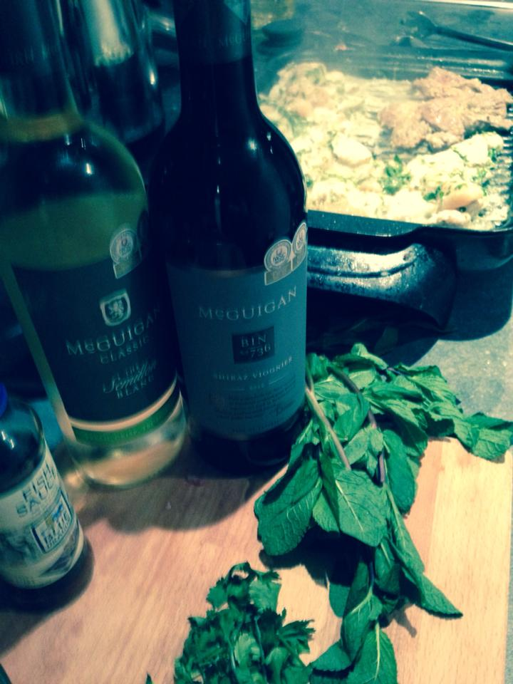 My attempt at cooking John Torode's green curry barbecue chicken with matching Mcguigan wines