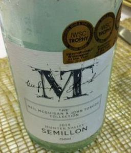 Hunter Valley semillon Torode McGuigan wine