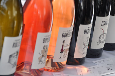 Wine bottles at the RAW artisan wine fair