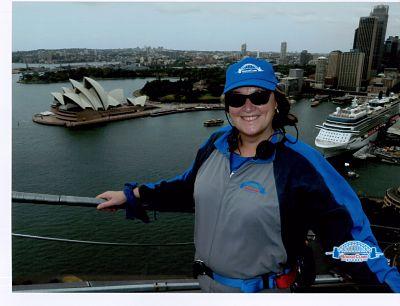 Secret Sydney Travel Review: Jane Clare on top of Sydney Harbour Bridge: Picture courtesy of www.bridgeclimb.com