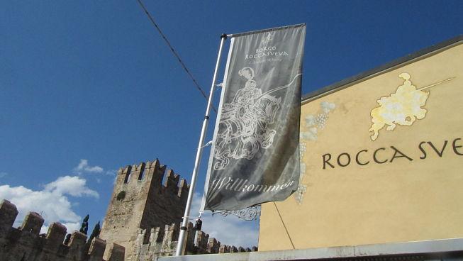The flag of the Rocca Sveva brand Soave wine