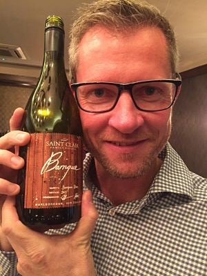 Winemaker Kyle Thompson with his Saint Clair Barrique Sauvignon Blanc