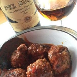 Sherry tasting with albondigas meatballs