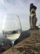 A glass of Asti at Castello Gancia Canelli