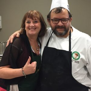 Jane Clare hanging out with Franco the chef
