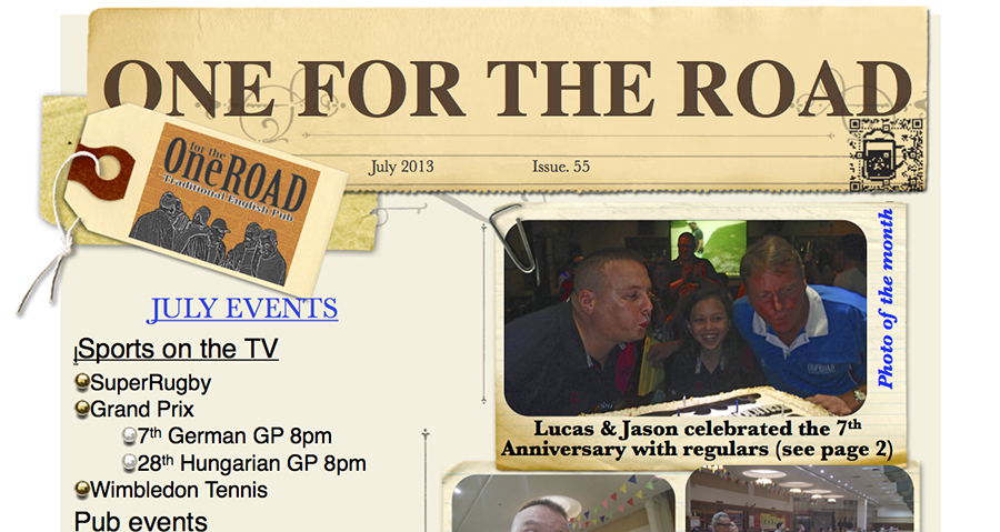 View and/or Download the July 2013 One for the Road Newsletter