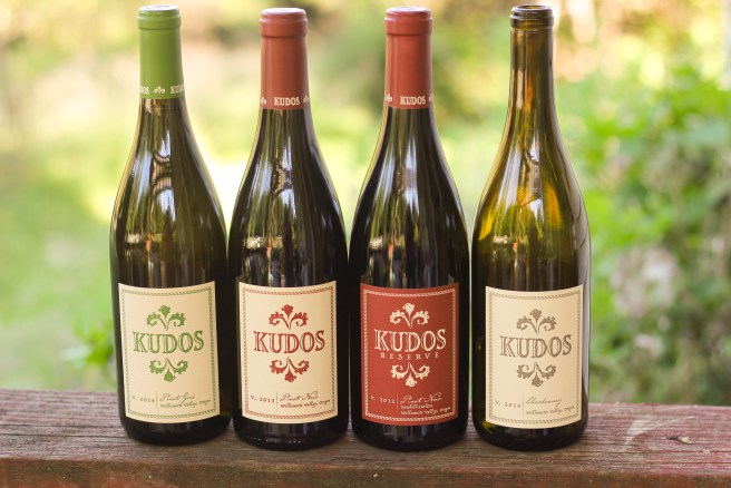 The lineup of Kudos wines