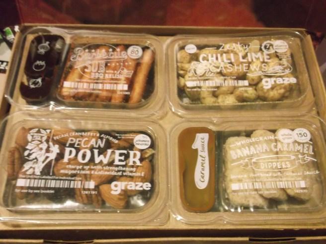 Top layer of an 8 item Graze box