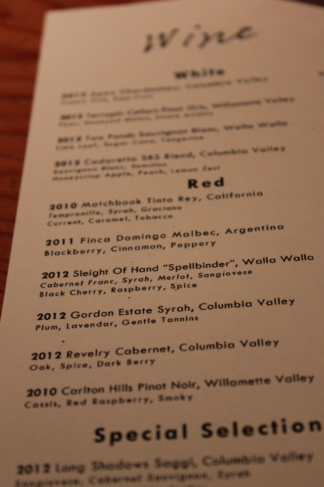 Part of the wine list