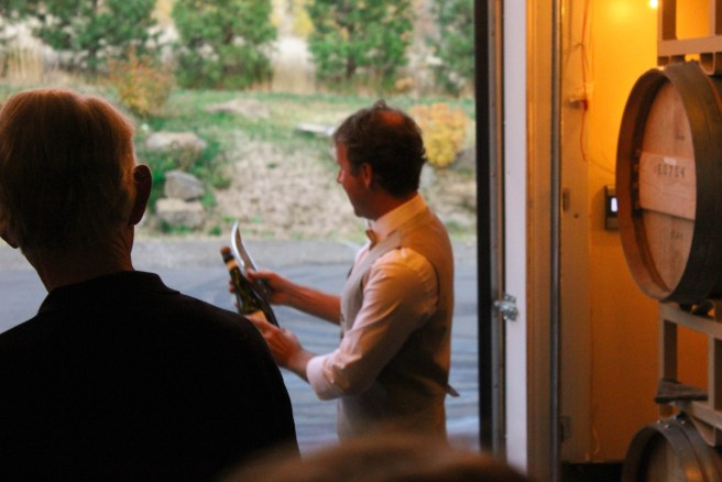 Steve sabering the first bottle of 2011 Analemma Blanc de Noir
