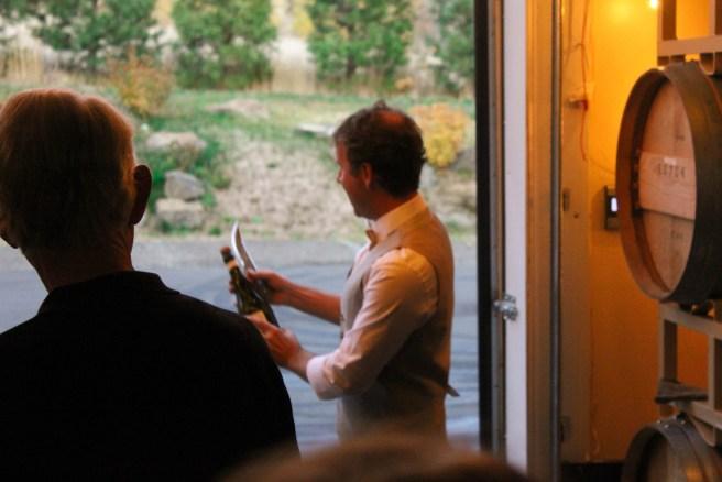 Steve sabering the first bottle of 2011 Analemma Blanc de Noir