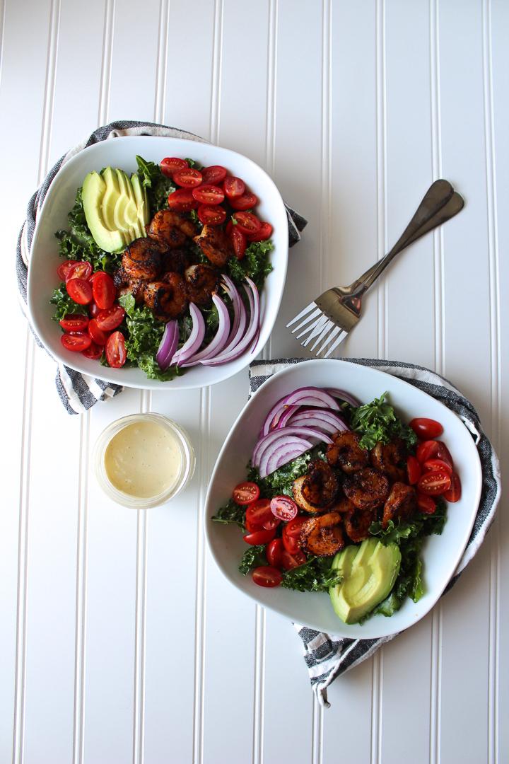 Blackened Shrimp Kale Cesar Salad