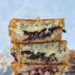 stacked grilled cheese sandwiches with caramelized onion jam