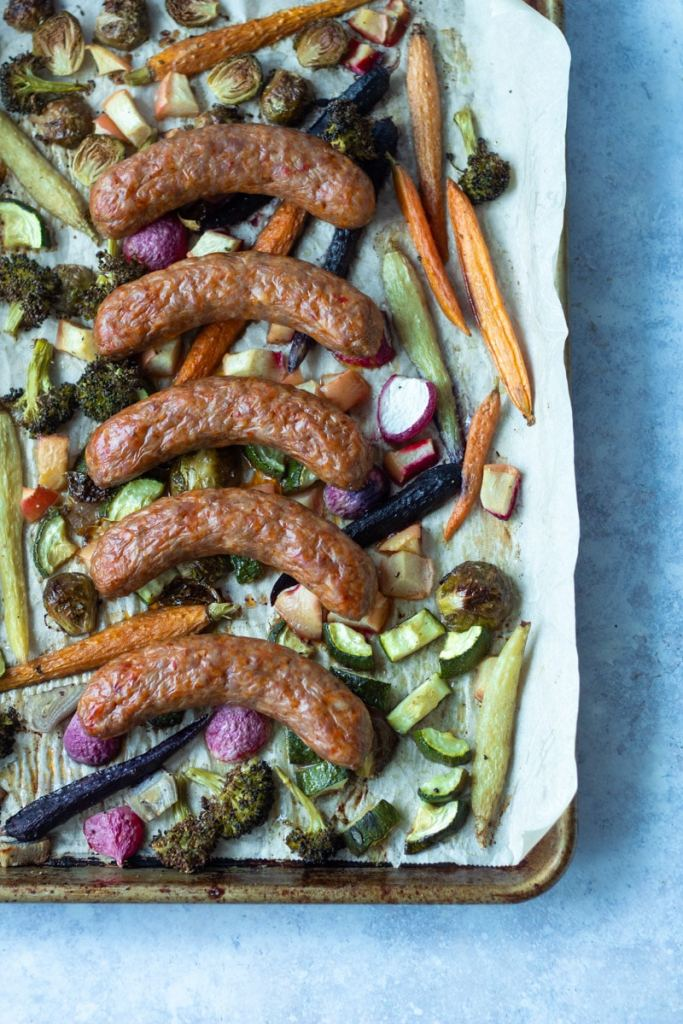 sausage and vegetables on sheet pan