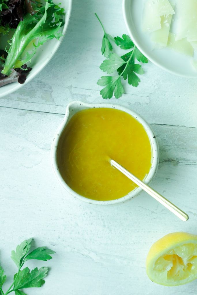 Small bowl of lemon garlic vinaigrette