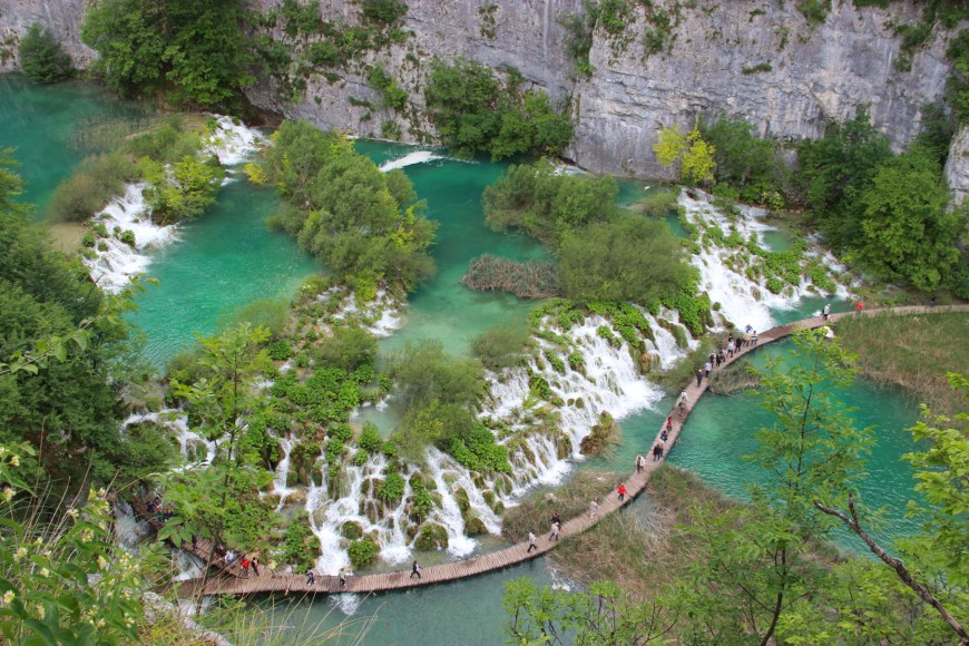 The gorgeous colors and waterfalls of Plitvice Lakes Croatia are a must-see