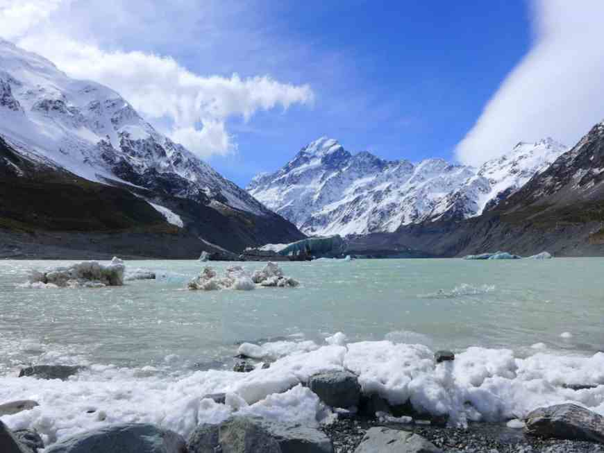 Hooker Valley Glacier and Lake, with a view of Mt. Cook/Aoraki