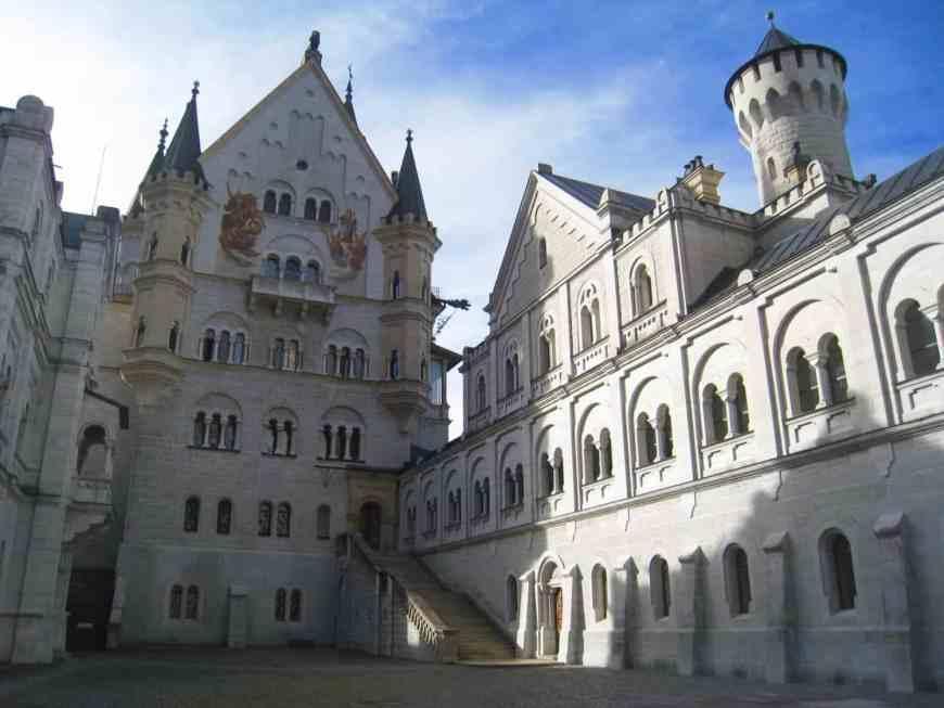 the courtyard of Neuschwanstein Castle
