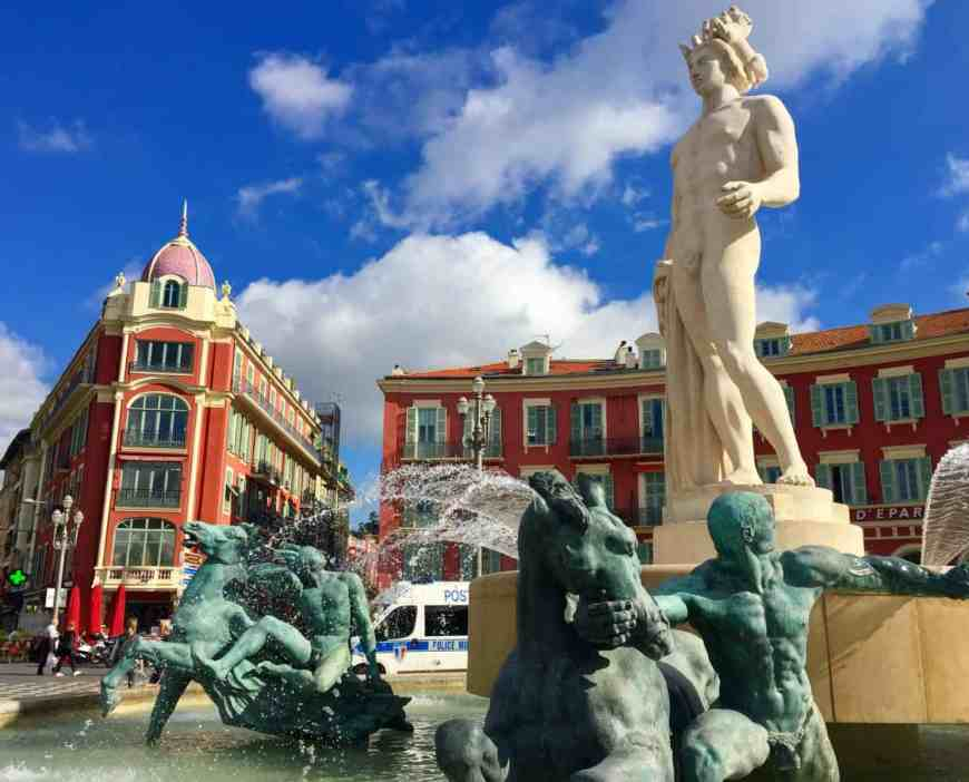 This beautiful fountain in Nice's Place Massena has a fun and slightly scandalous backstory...learn more about this charming, colorful city!