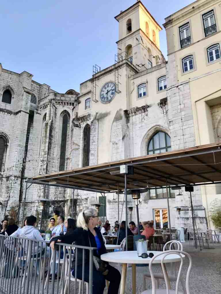 A Gothic convent from the 1300s is a perfect backdrop for Lisbon's best secret rooftop bar and patio. Come for a glass of wine and stay for sunset! #portugal