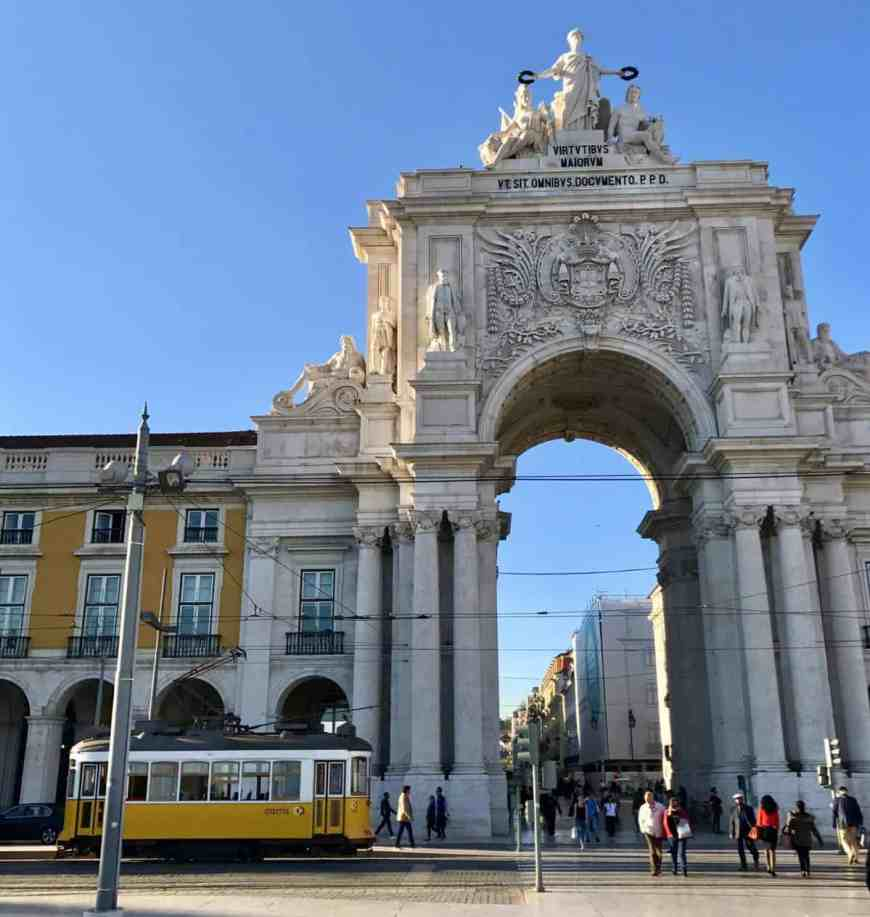 Lisbon's cheerful yellow cable car and Rua Augusta Arch   10 things that have to be on your Lisbon itinerary   24 hours in Lisbon   1-day lisbon itinerary   Lisbon travel tips   Portugal itinerary ideas