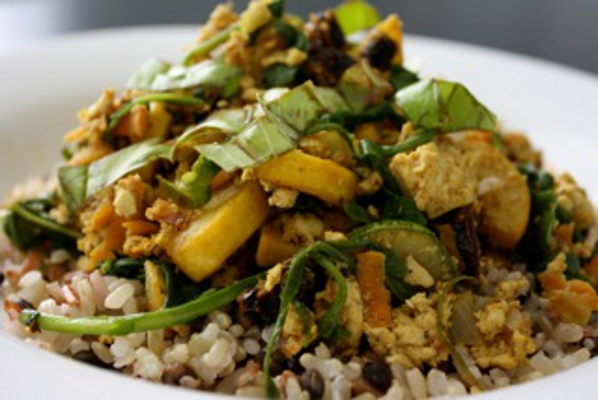 summertime scramble vegan recipe