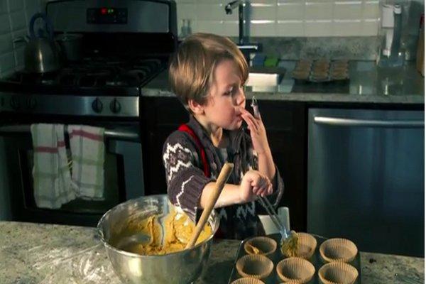 A 3-Year Old Makes Vegan Pumpkin Cupcakes