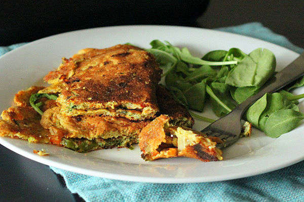 Recipe: Chickpea Flour Omelette With Spinach, Onion, Bell Peppers