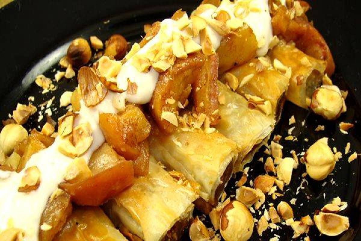Recipe: Golden Pumpkin Phyllo Rolls in Agave/Maple Syrup with Roasted Apples and Hazelnuts