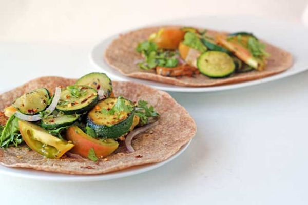 spicy zucchini and tomato tacos