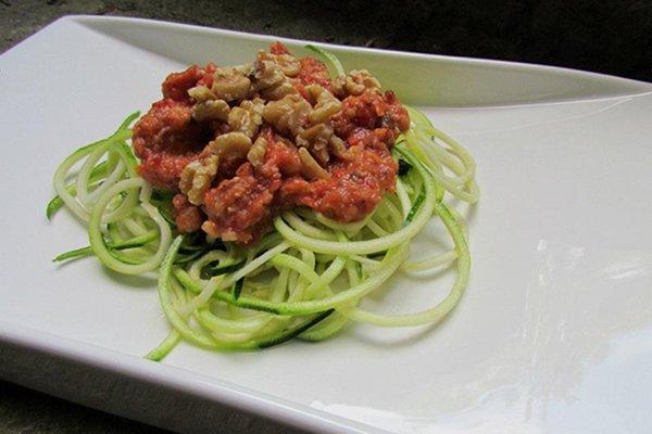 Zucchini Pasta with Chunky Tomato Sauce