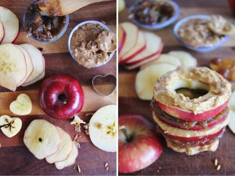Raw Apple Sandwiches with Date Caramel + Almond Butter