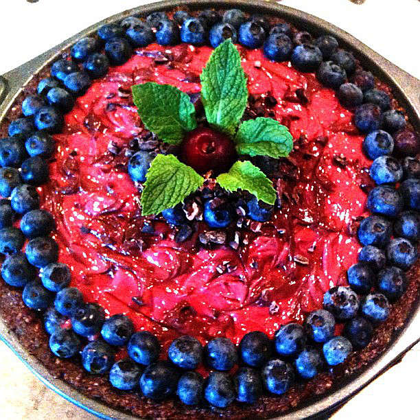Raw Vegan Cherry Berry Chocolate Cheesecake