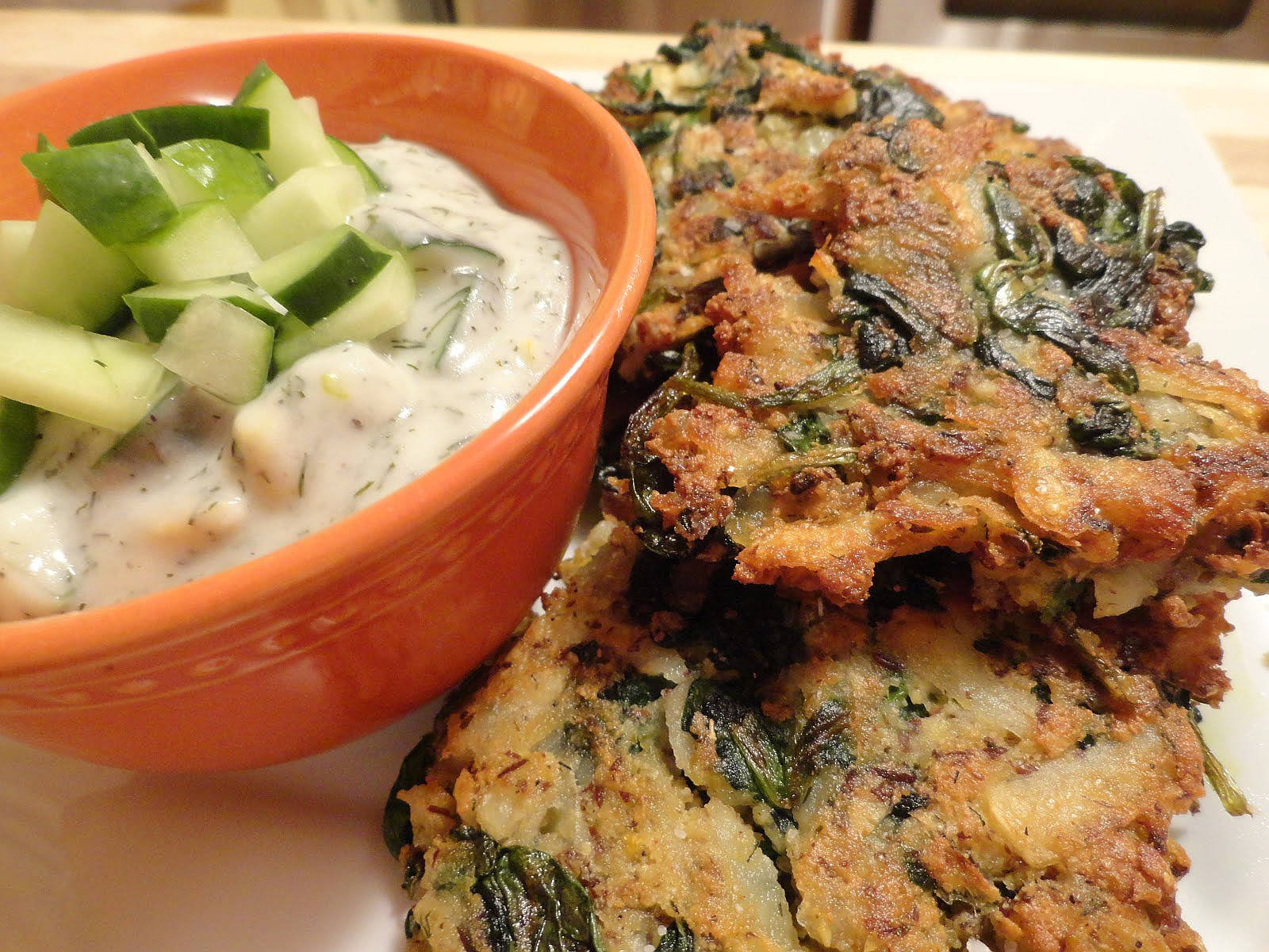 Greek Spinach, Potato and Feta Latkes with Tzatziki Sauce
