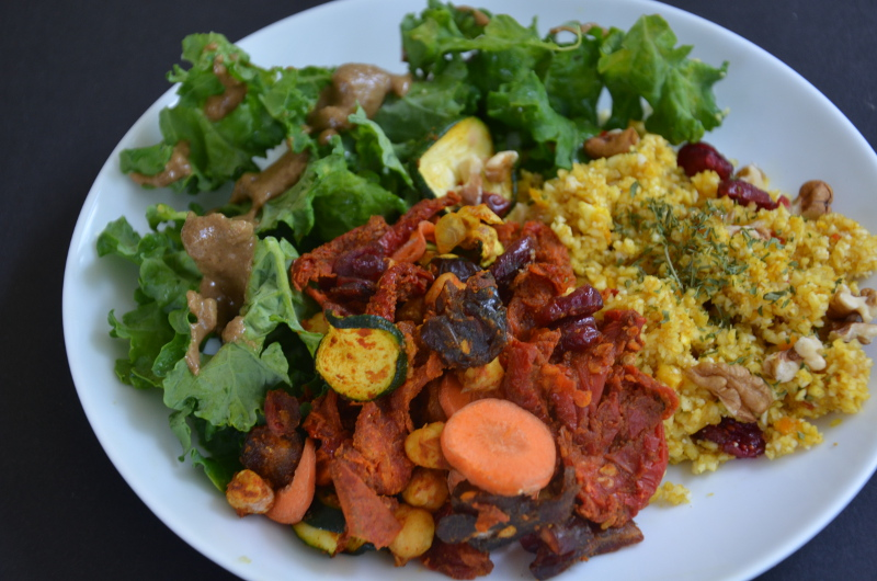 Raw Moroccan Vegetable and Chickpea Stew with Spicy Orange Cauliflower Couscous
