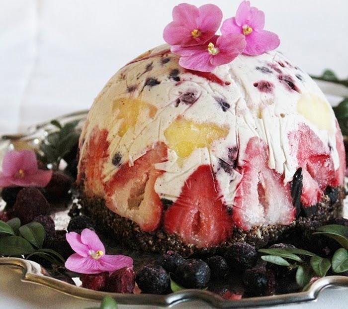 Raw Fruit & Coconut Ice Cream Cake with Brownie Crust