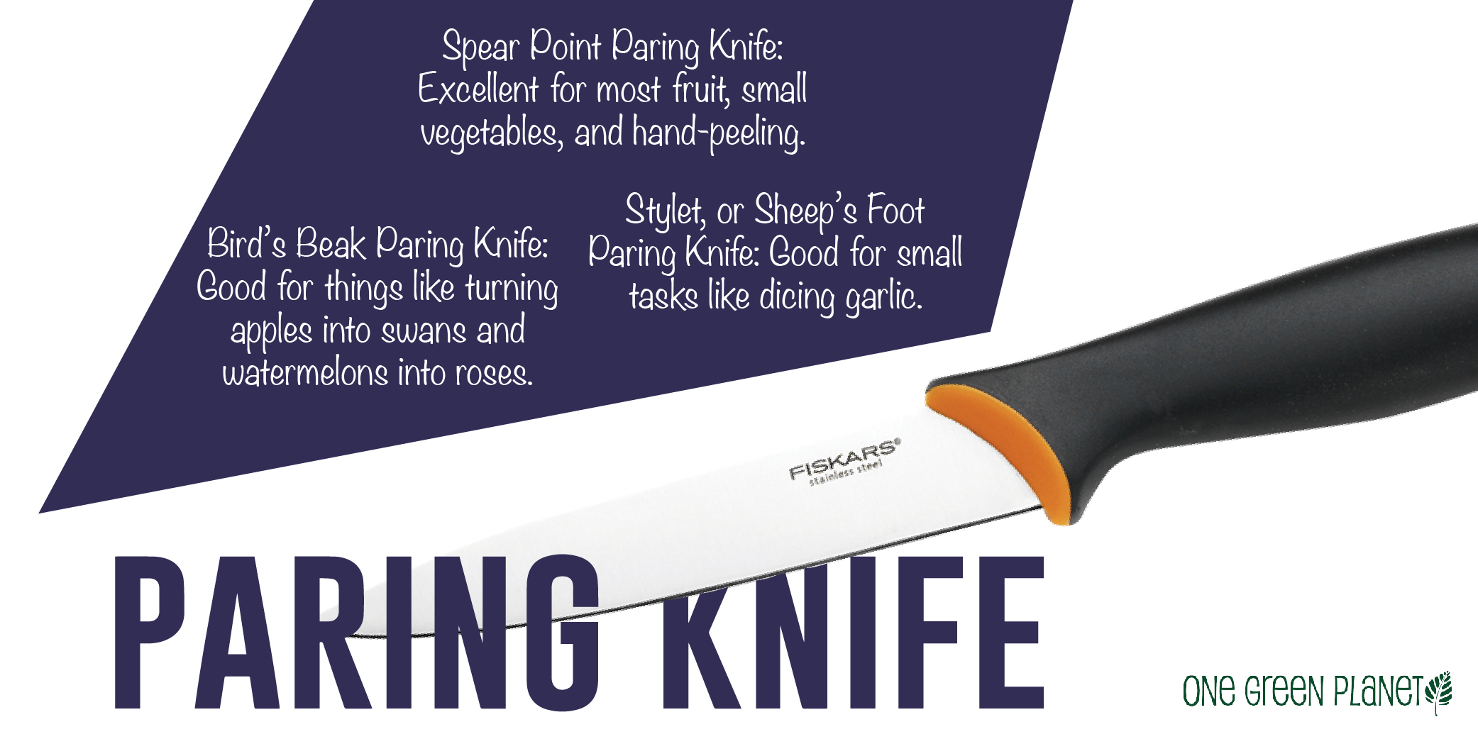 the guide to knives for the plant based chef one green planet there are several good kinds of paring knives to have the first most common is a spear point paring knife which is excellent for most fruit