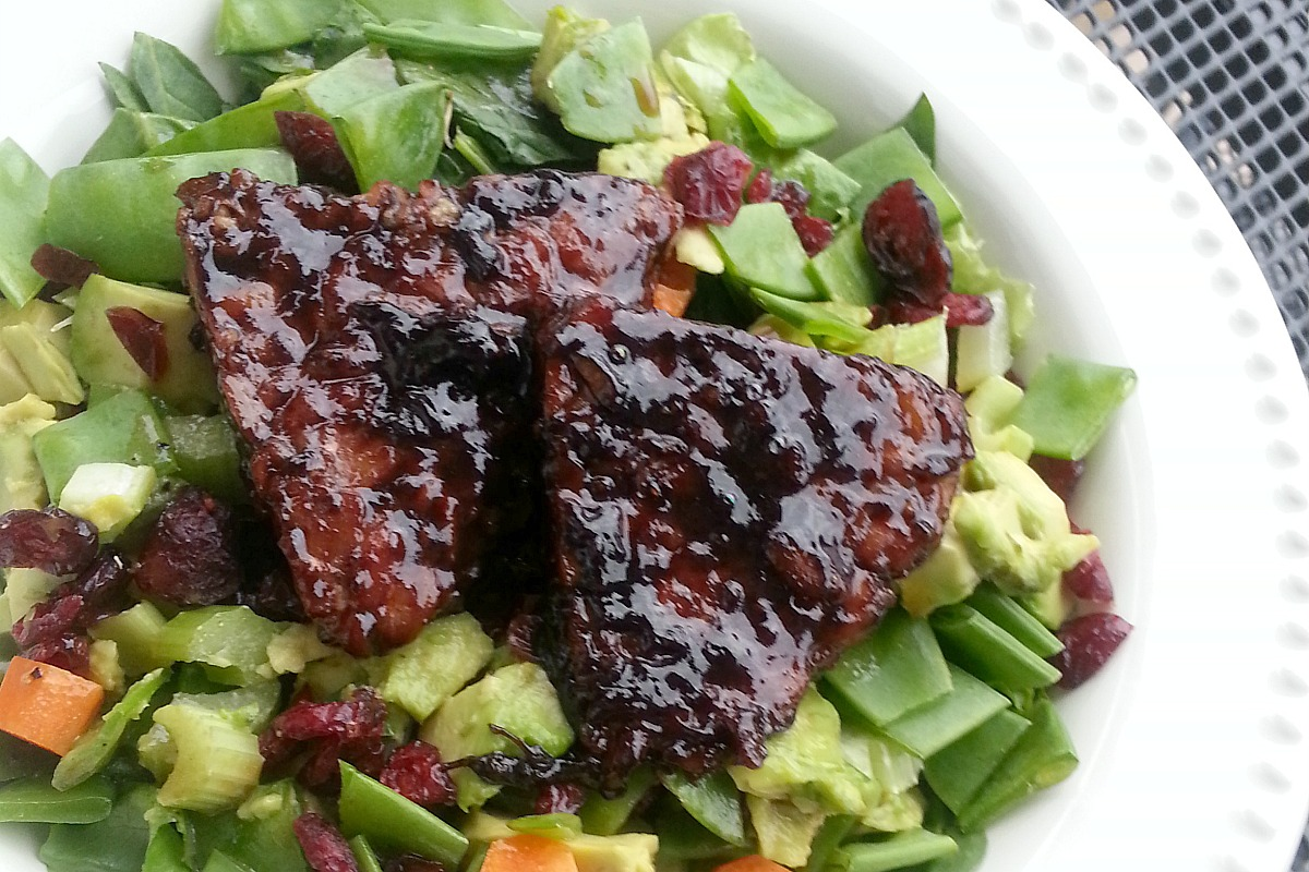 Blueberry, Chili, Balsamic Tempeh Over Spring Salad [Vegan, Gluten-Free]