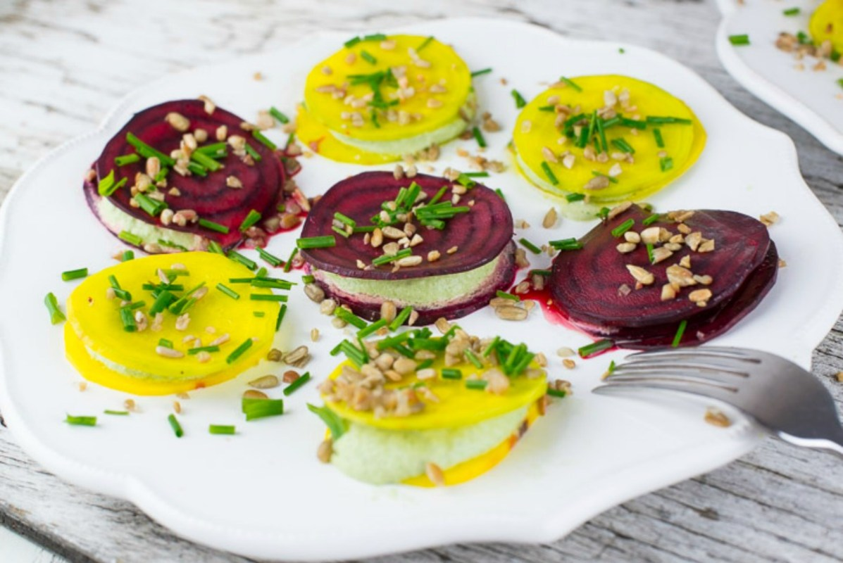 Raw Beet Ravioli With Cilantro Cream [Vegan, Raw, Gluten-Free]