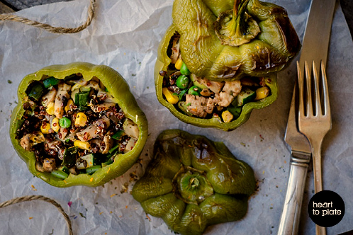 Stuffed Lentil, Quinoa and Mushroom Peppers [Vegan, Gluten-Free]