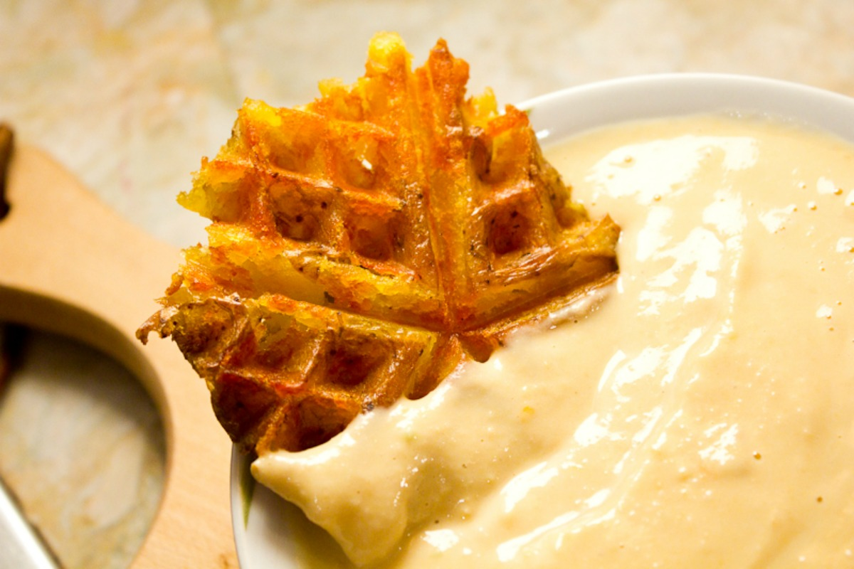 Potato Waffles and Hummus Sauce [Vegan, Gluten-Free]
