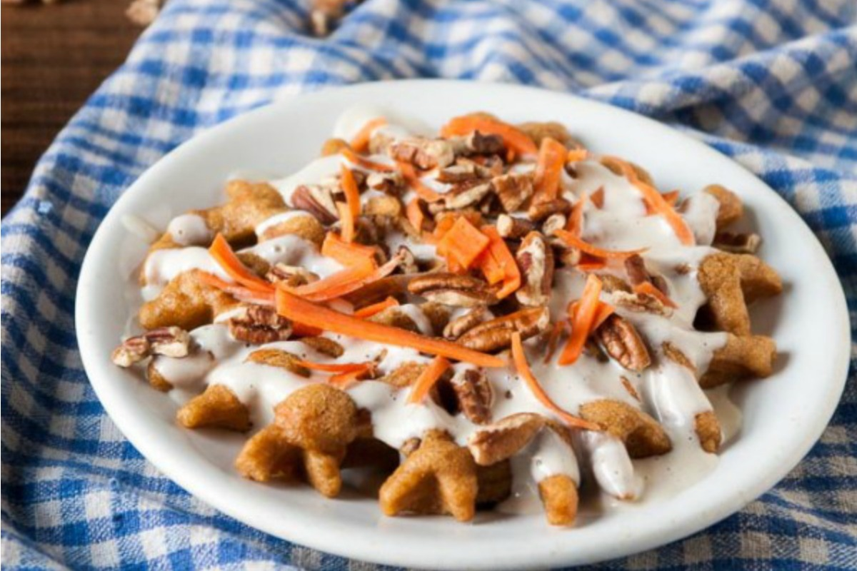 Vegan Carrot Cake Waffles With Cream Cheese Frosting