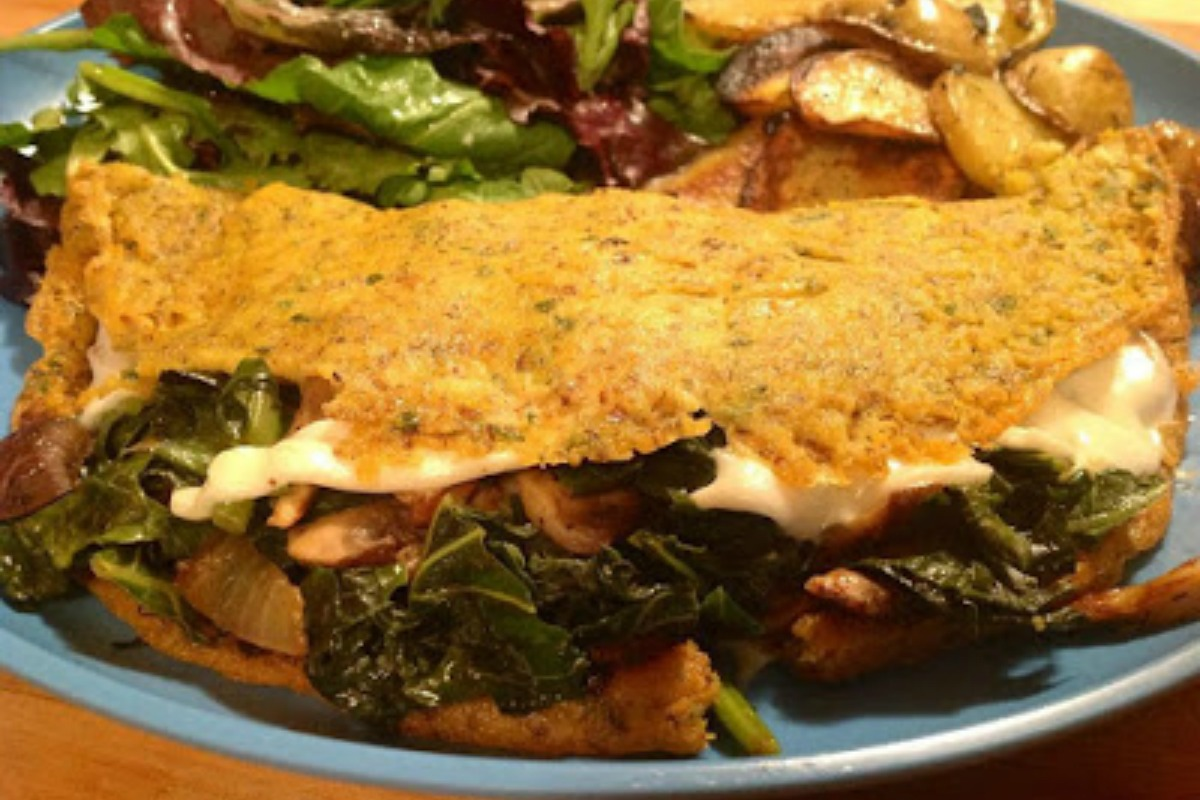 Chickpea Omelets With Mushrooms, Greens and Vegan Swiss [Vegan, Gluten-Free]